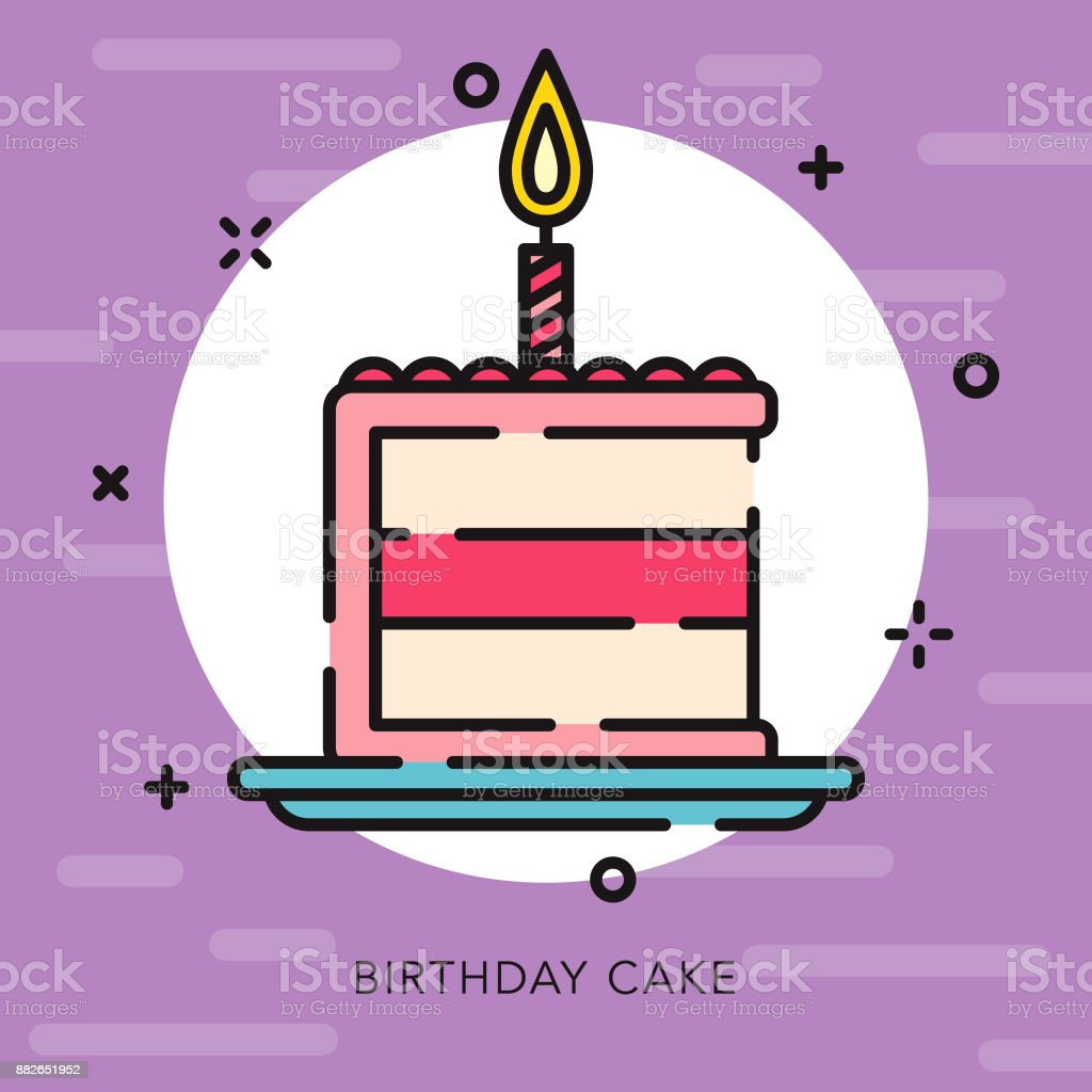 Birthday Cake Open Outline Celebrations Parties Icon Stock Vector