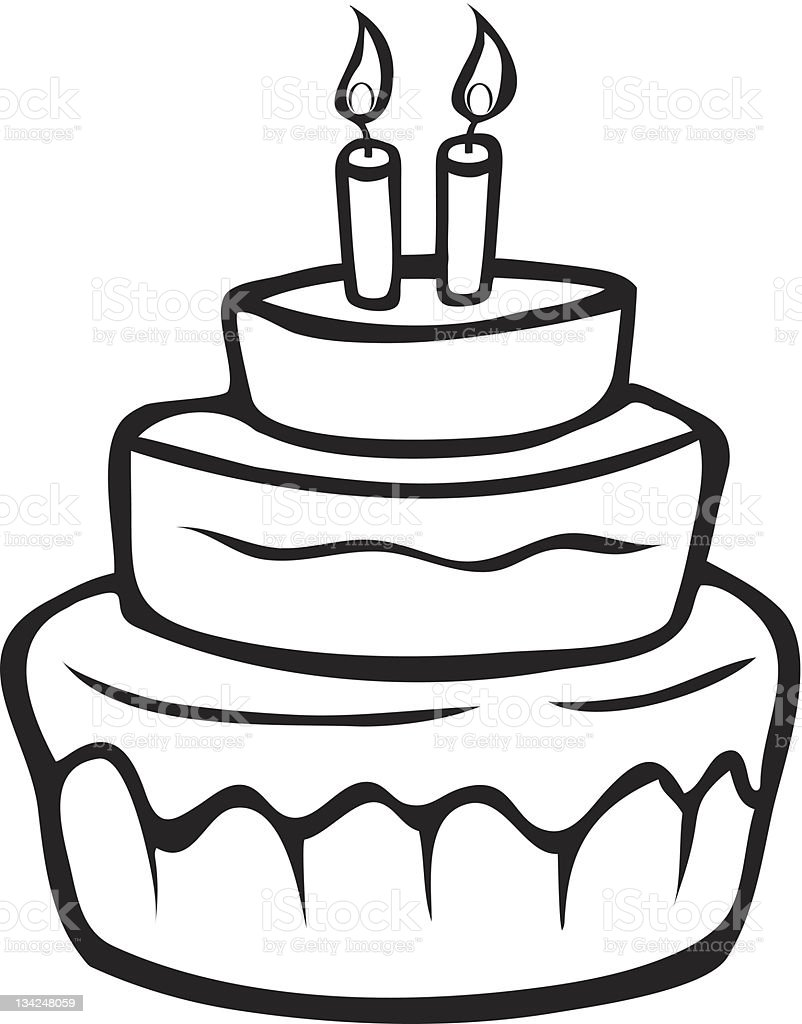 Birthday Cake Outline Stock Vector Art More Images Of Art Istock