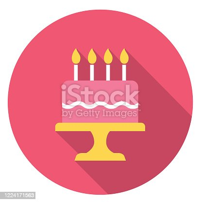 istock Birthday Cake Party Icon With Long Side Shadow 1224171563