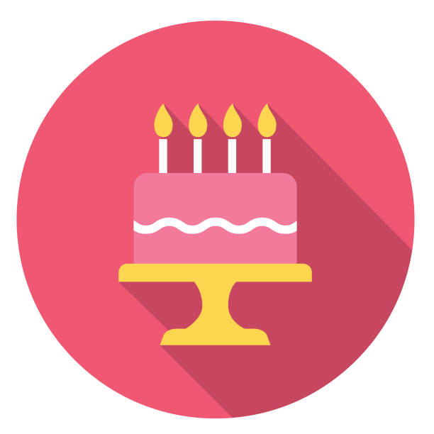 Birthday Cake Party Icon With Long Side Shadow vector art illustration