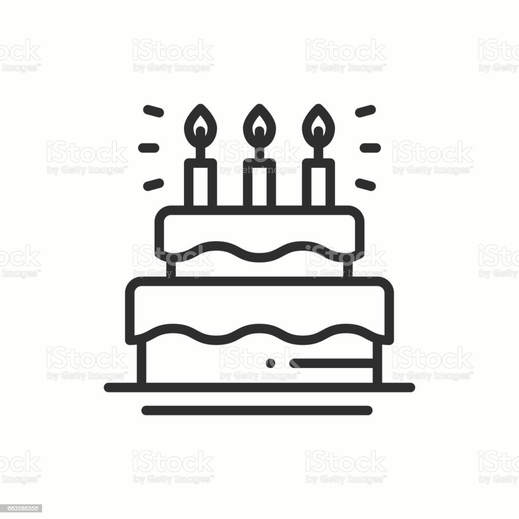 Birthday Cake Pie With Candles Icon Happy Birthday Party ...