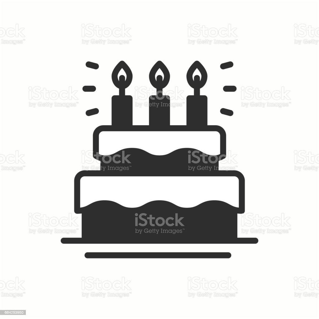 Birthday Cake Pie With Candles Icon Happy Birthday Party Celebration