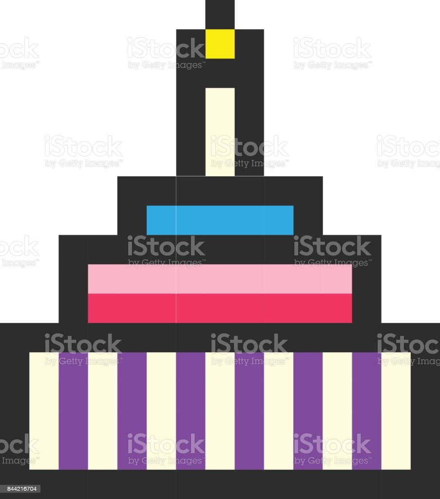 Birthday Cake Pixel Art Cartoon Retro Game Style Stock