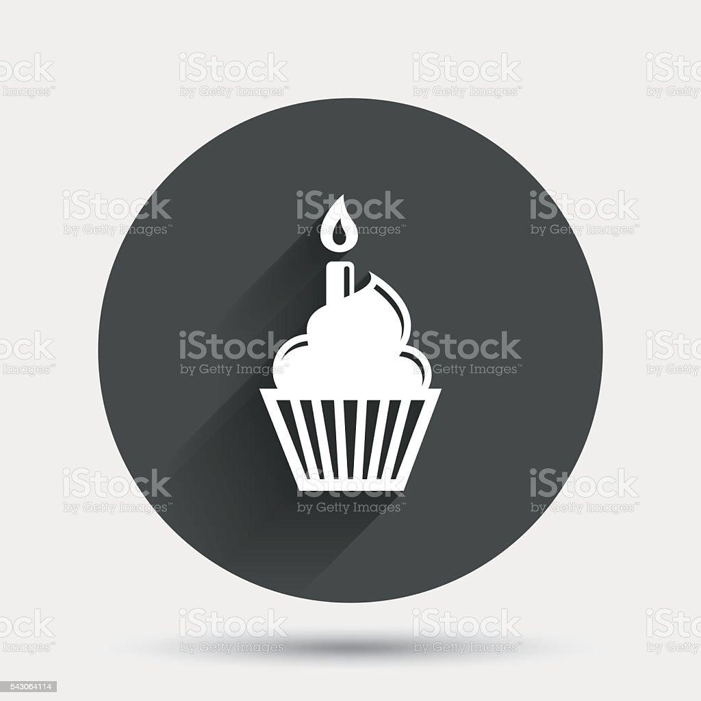 Geburtstagstorte-Symbol. Brennende Kerze symbol – Vektorgrafik