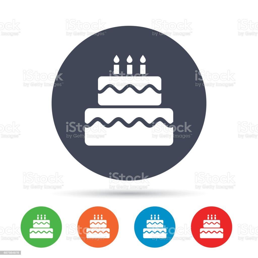 Birthday cake sign icon burning candles symbol stock vector art birthday cake sign icon burning candles symbol royalty free birthday cake sign icon biocorpaavc