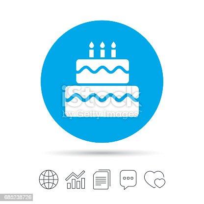 Birthday Cake Sign Icon Burning Candles Symbol Stock Vector Art
