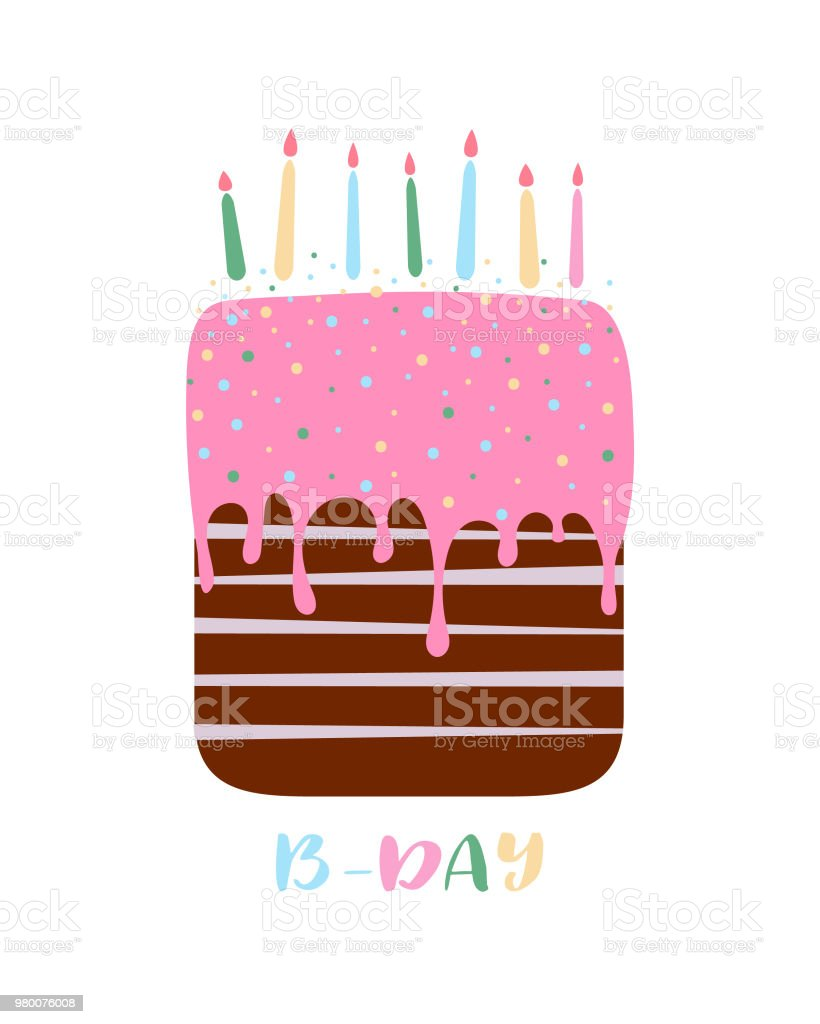 Birthday Cake Simple Cartoon Design Stock Vector Art More Images