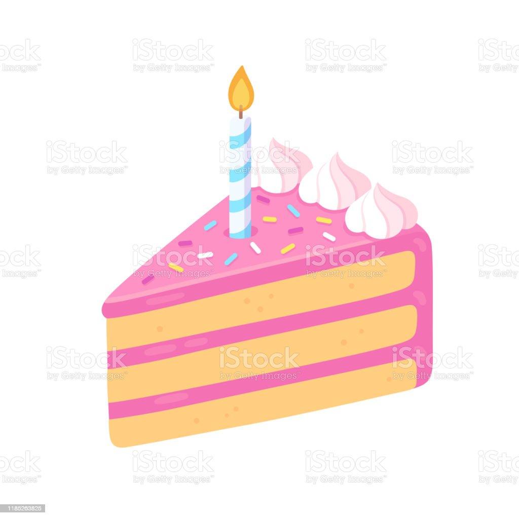 Brilliant Birthday Cake Slice With Candle Stock Illustration Download Personalised Birthday Cards Akebfashionlily Jamesorg