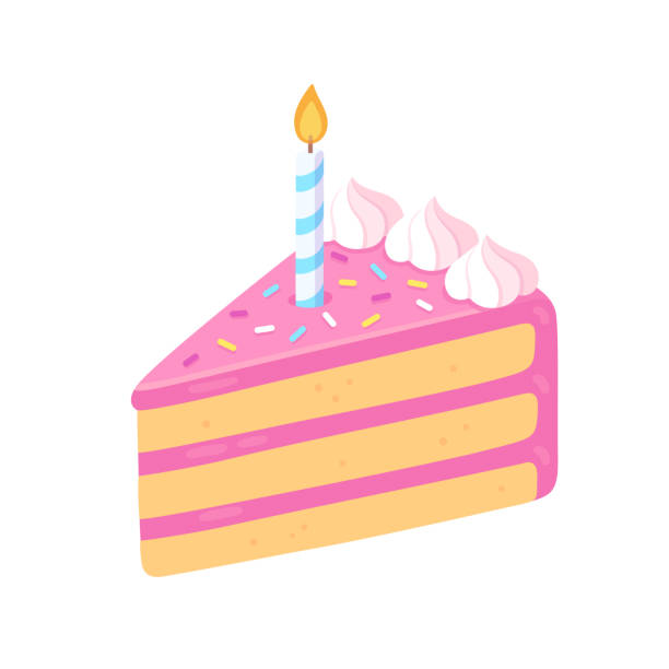 Birthday cake slice with candle vector art illustration