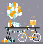 Birthday cake with Bengal lights.  Sweet buffet with balloons and gifts. Dessert table with a bicycle.  Vector illustration.