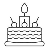 istock Birthday cake thin line icon. Sweet vector illustration isolated on white. Cake with cherry outline style design, designed for web and app. Eps 10. 1209495609