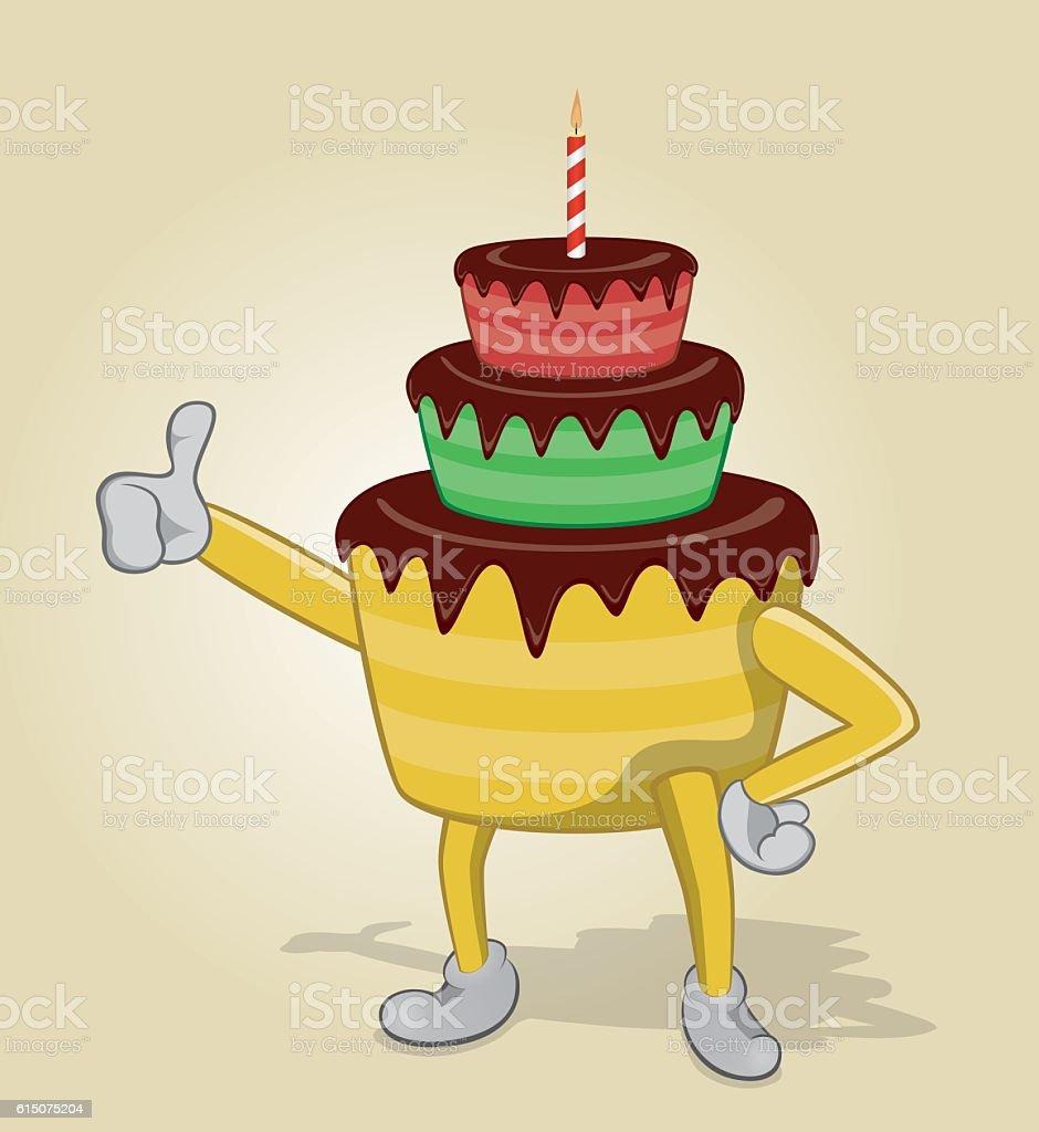 Birthday Cake Thumb Up Lizenzfreies Stock Vektor Art Und Mehr Bilder Von