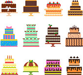 Birthday cake vector cheesecake cupcake for happy birth party baked chocolate cake and dessert from bakery set illustration isolated on white background