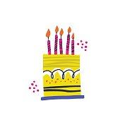 istock Birthday cake vector handdrawn illustration 1171824571