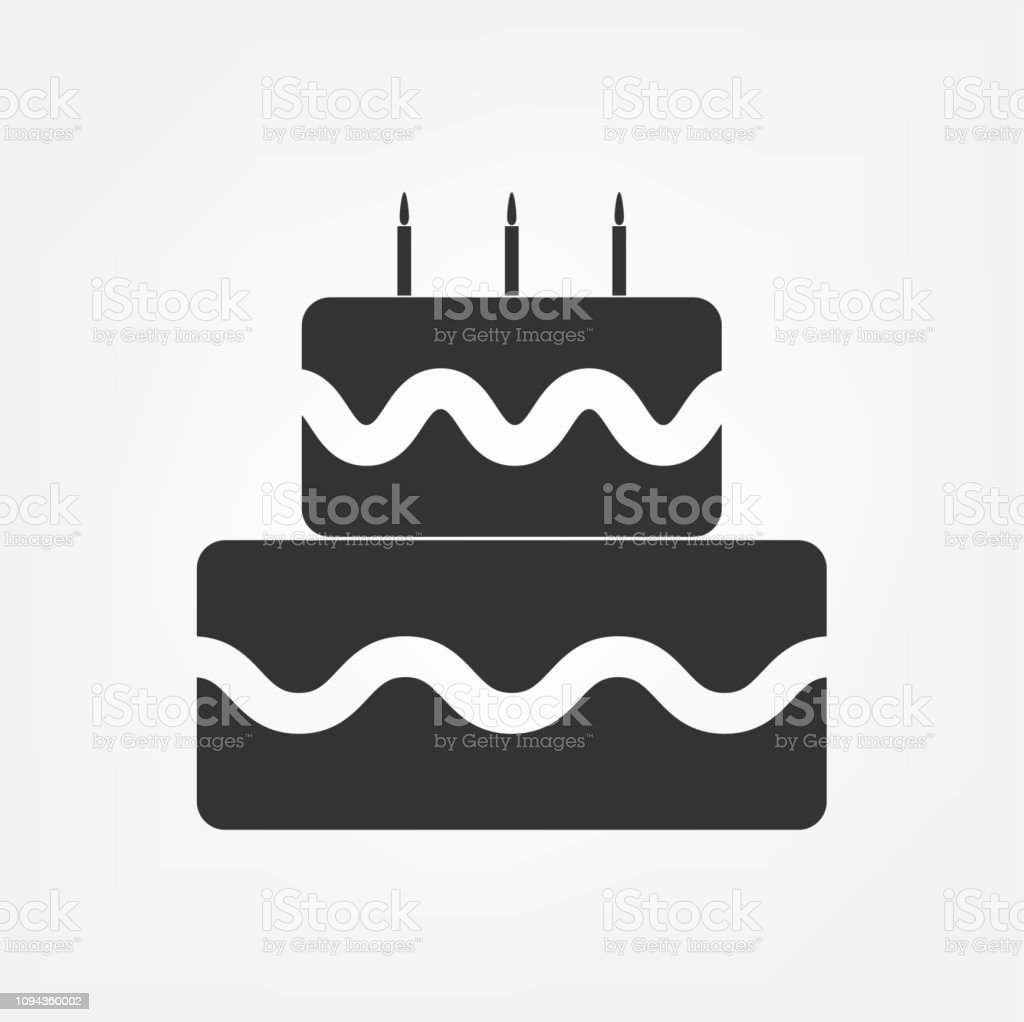 Birthday Cake Vector Icon Celebration With Three Candles For Graphic Design Logo Web Site Social Media Mobile App Ui Illustration