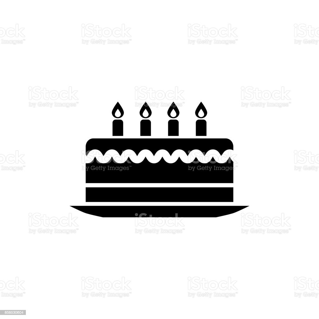 Birthday Cake Vector Icon Black Isolated On White Background Stock