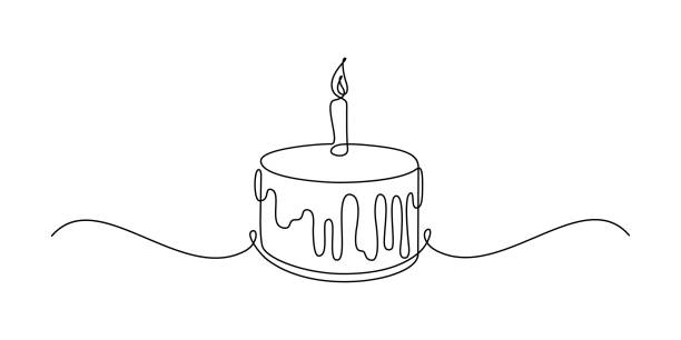 Birthday cake Birthday cake in continuous line art drawing style. Traditional birthday cake with candle on the top minimalist black linear sketch isolated on white background. Vector illustration decorating a cake stock illustrations