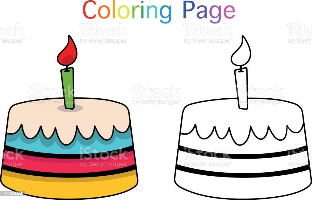 Ilustración de Torta De Cumpleaños y más banco de imágenes de Blanco ...