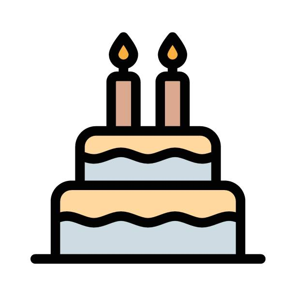 Best Birthday Cake Outline Silhouette Illustrations ...