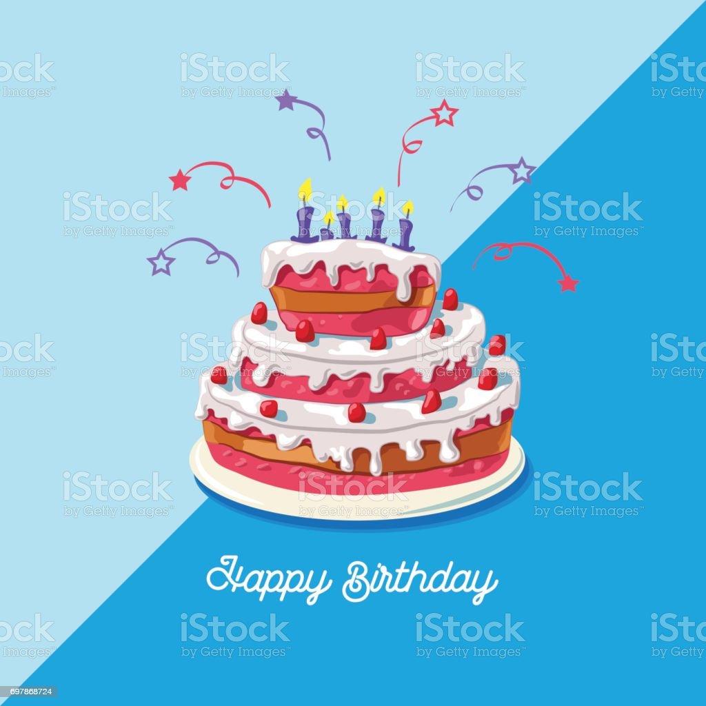 Birthday cake. Vector illustration of a big, sweet fruit cake, isolated on blue background - Happy birthday vector art illustration
