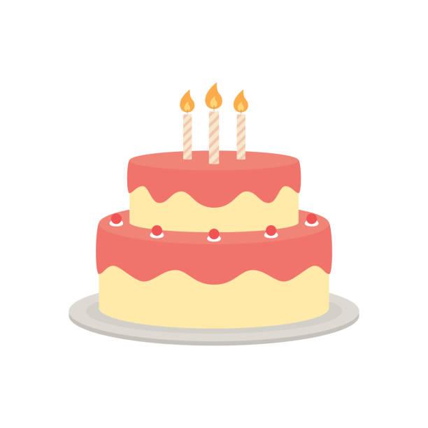 tort urodzinowy izolowana ilustracja - ciasto stock illustrations