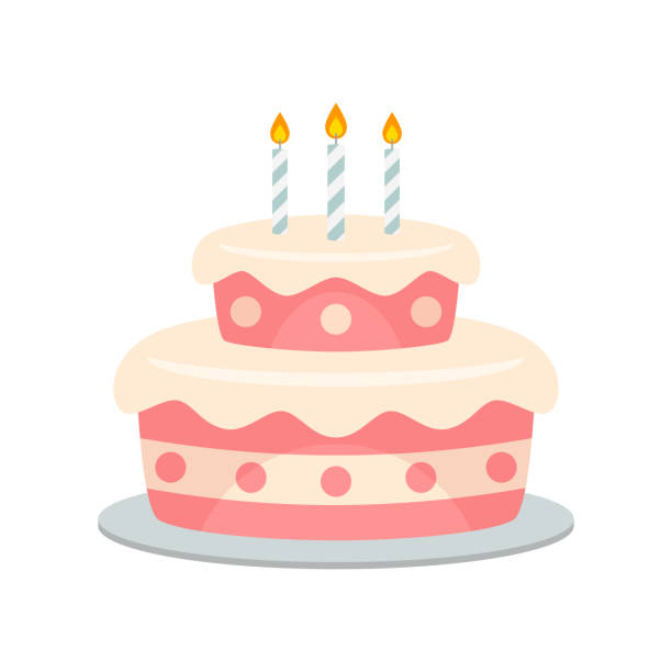 wektor tortu urodzinowego odizolowany - ciasto stock illustrations