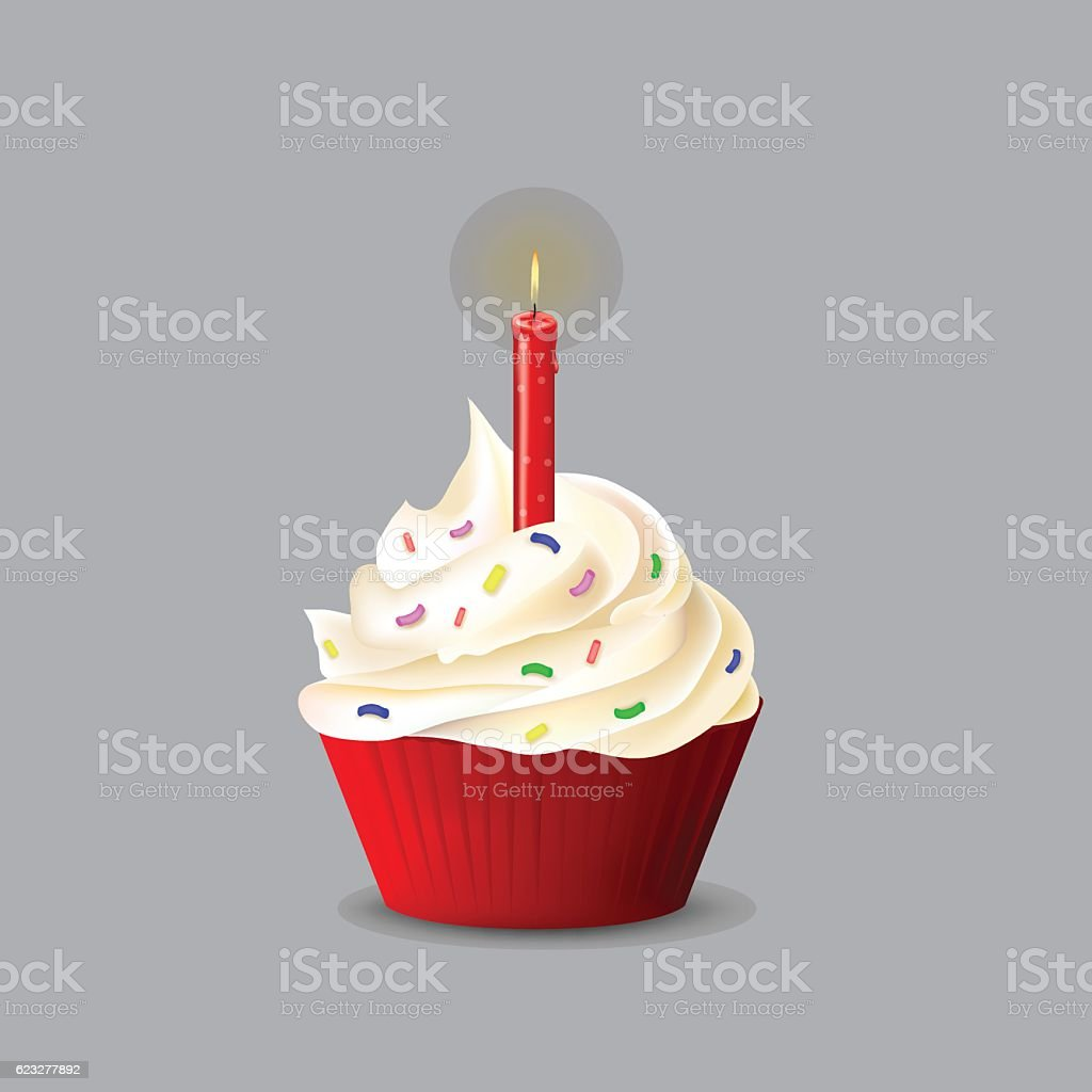 Birthday cake with a candle for your design vector art illustration