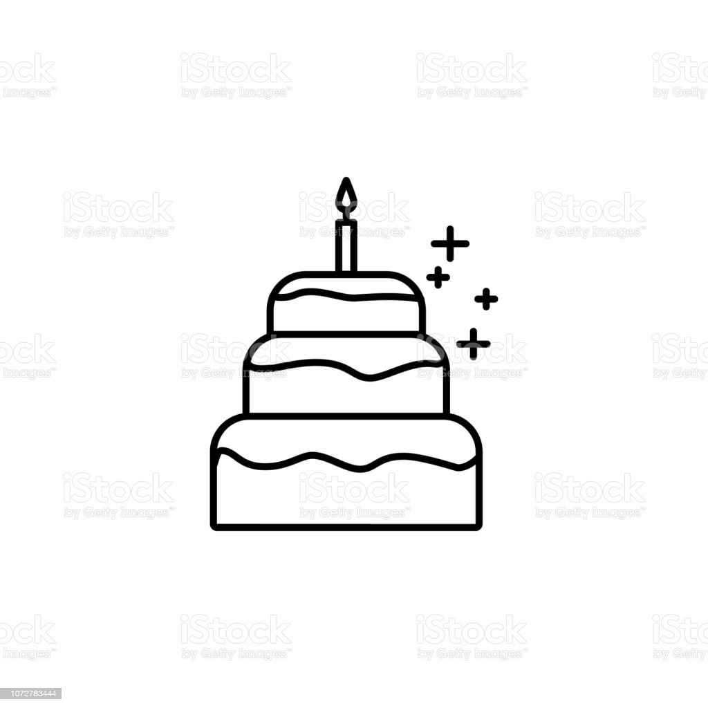 Wondrous Birthday Cake With A Candle Icon Element Of New Year Oarty Outline Birthday Cards Printable Trancafe Filternl