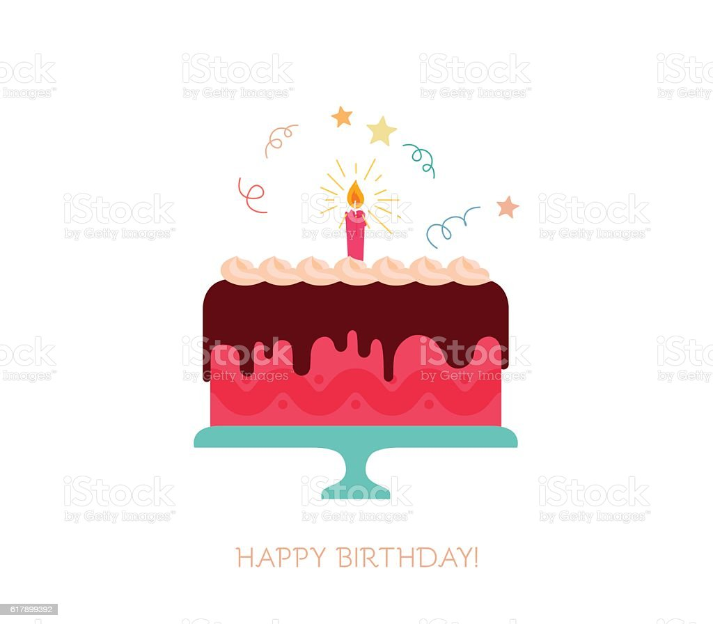 Birthday cake with a candle, sparkles, starburst vector art illustration