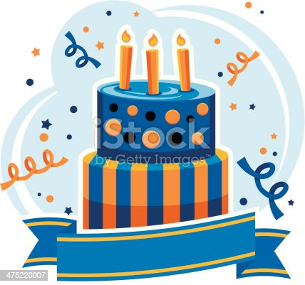 Birthday Cake With Banner Stock Vector Art 475220007