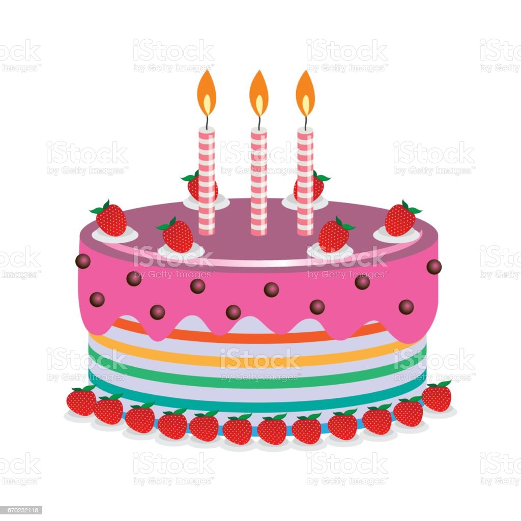 Birthday Cake With Beautiful Garnish And Candles Vector Illustration