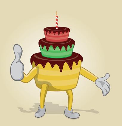 Birthday Cake With Big Thumb Up Stock Vektor Art Und Mehr Bilder Von Bunt