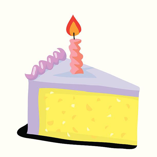 Birthday cake with burning candle vektorkonstillustration