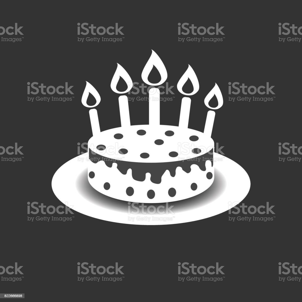 Birthday Cake With Burning Candles Pictogram Icon Simple For Celebration Marketing Internet
