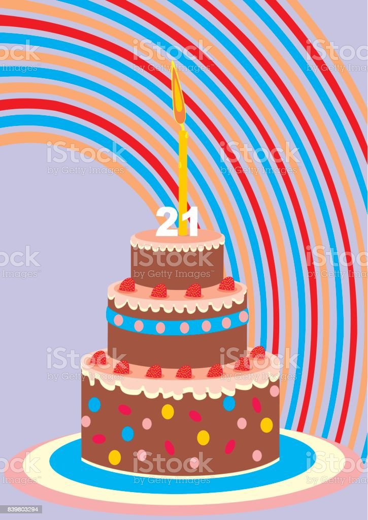 Birthday cake with candle, 21 year vector art illustration