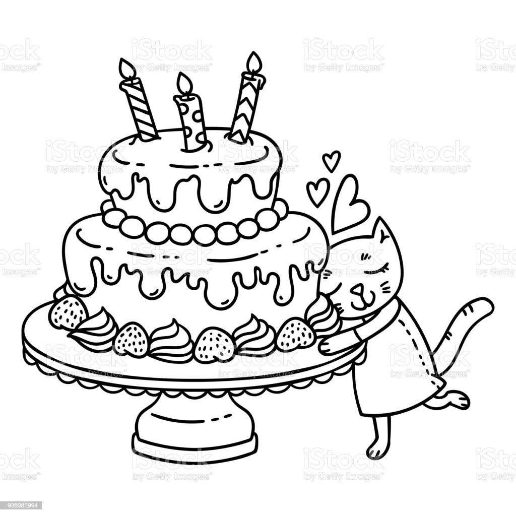 Birthday Cake With Candle And Cute Cat Royalty Free