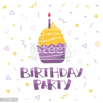 istock Birthday cake with candle and inscription happy birhday. Illustration in cartoon style. Greeting card for birthday 1271690752
