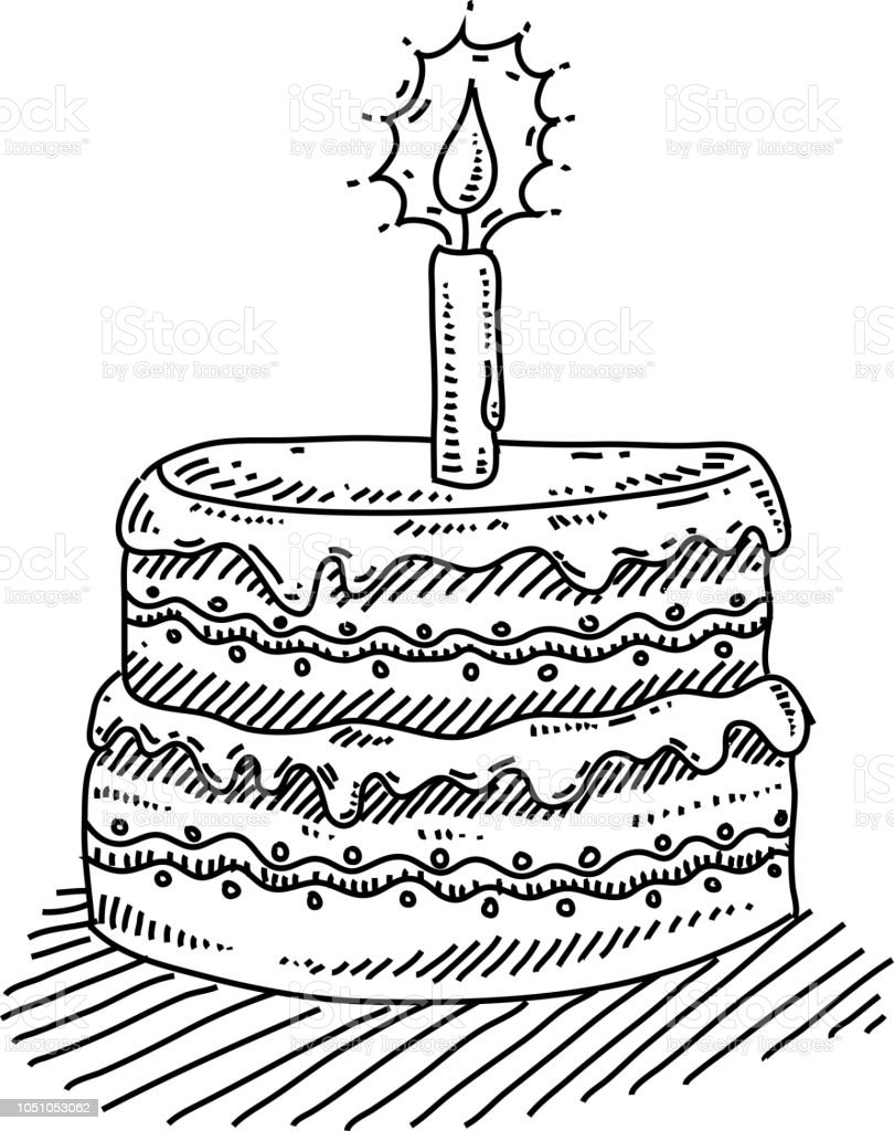 Sensational Birthday Cake With Candle Drawing Stock Illustration Download Funny Birthday Cards Online Alyptdamsfinfo