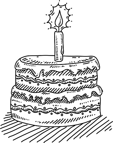 Birthday Cake With Candle Drawing