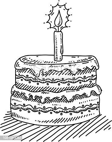 Birthday Cake With Candle Drawing Stock Vector Art More Images Of