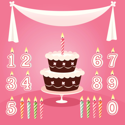 Birthday cake with candle options on pink background