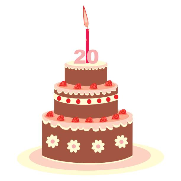 Birthday Cake With Candle Twenty Year Vector Art Illustration