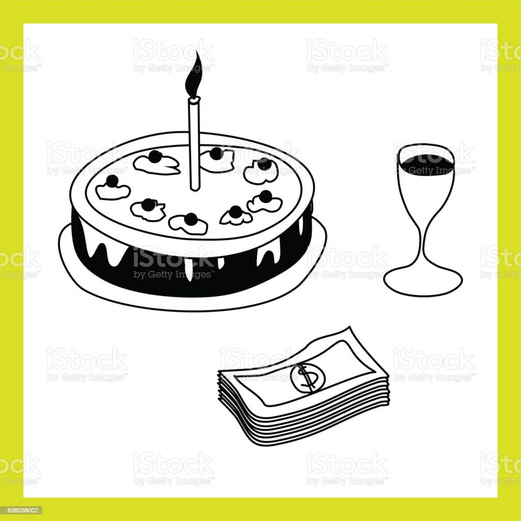 Doğum Günü Pastası Mumu şarap Cam Para Paket Ile Vektör El çizim