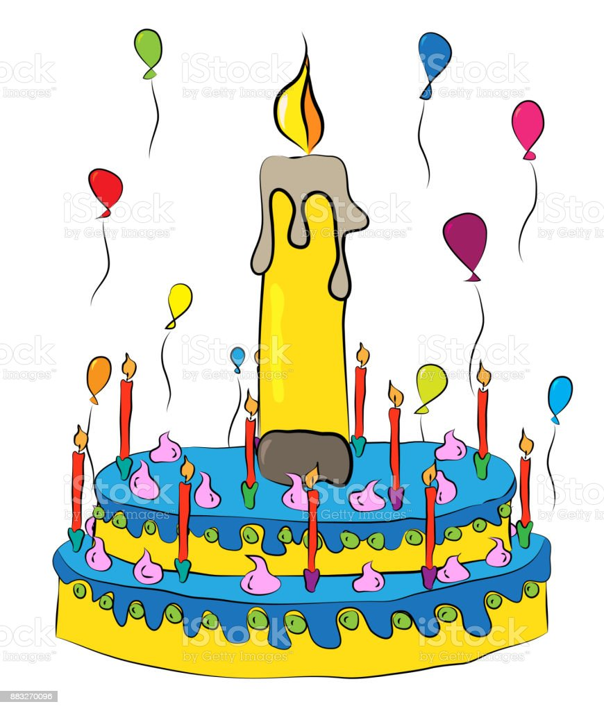 Birthday Cake With Candles And Balloons