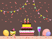 vector illustration of yummy birthday cake with candles and wine. greetings card happy birthday party background concept.