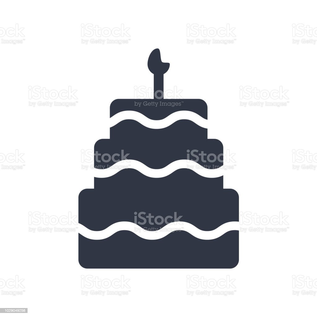 Birthday Cake With Candles Icon Vector Sign And Symbol Isolated On