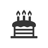 Birthday Cake with Candles Icon. Vector Illustration