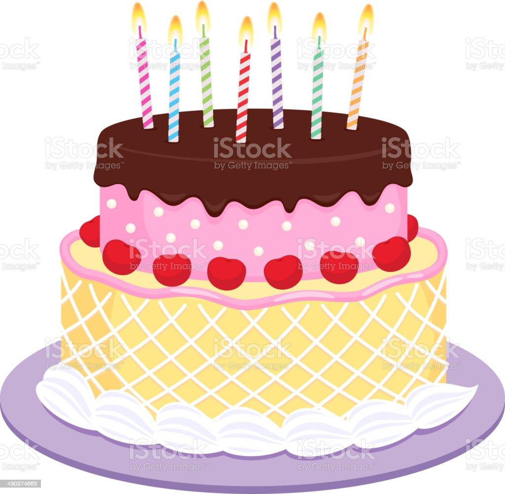 Gâteau d'anniversaire avec bougies illustration. - Illustration vectorielle