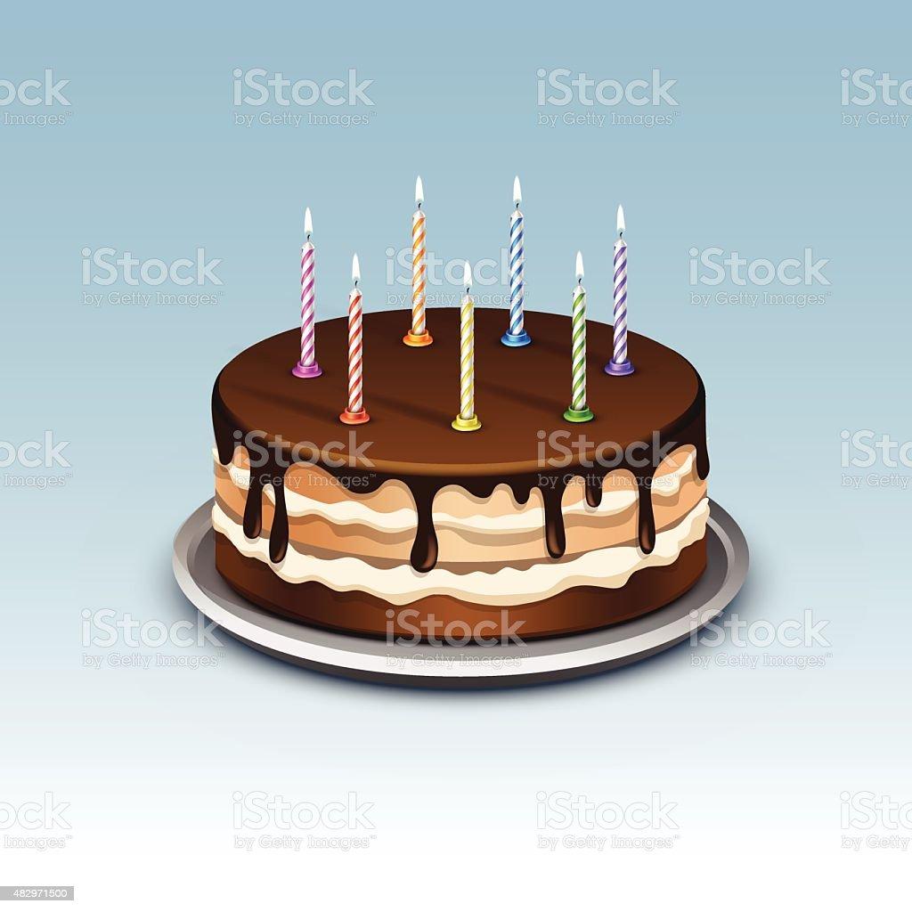 Gâteau d'anniversaire avec bougies chiffres flamme feu de signalisation, - Illustration vectorielle