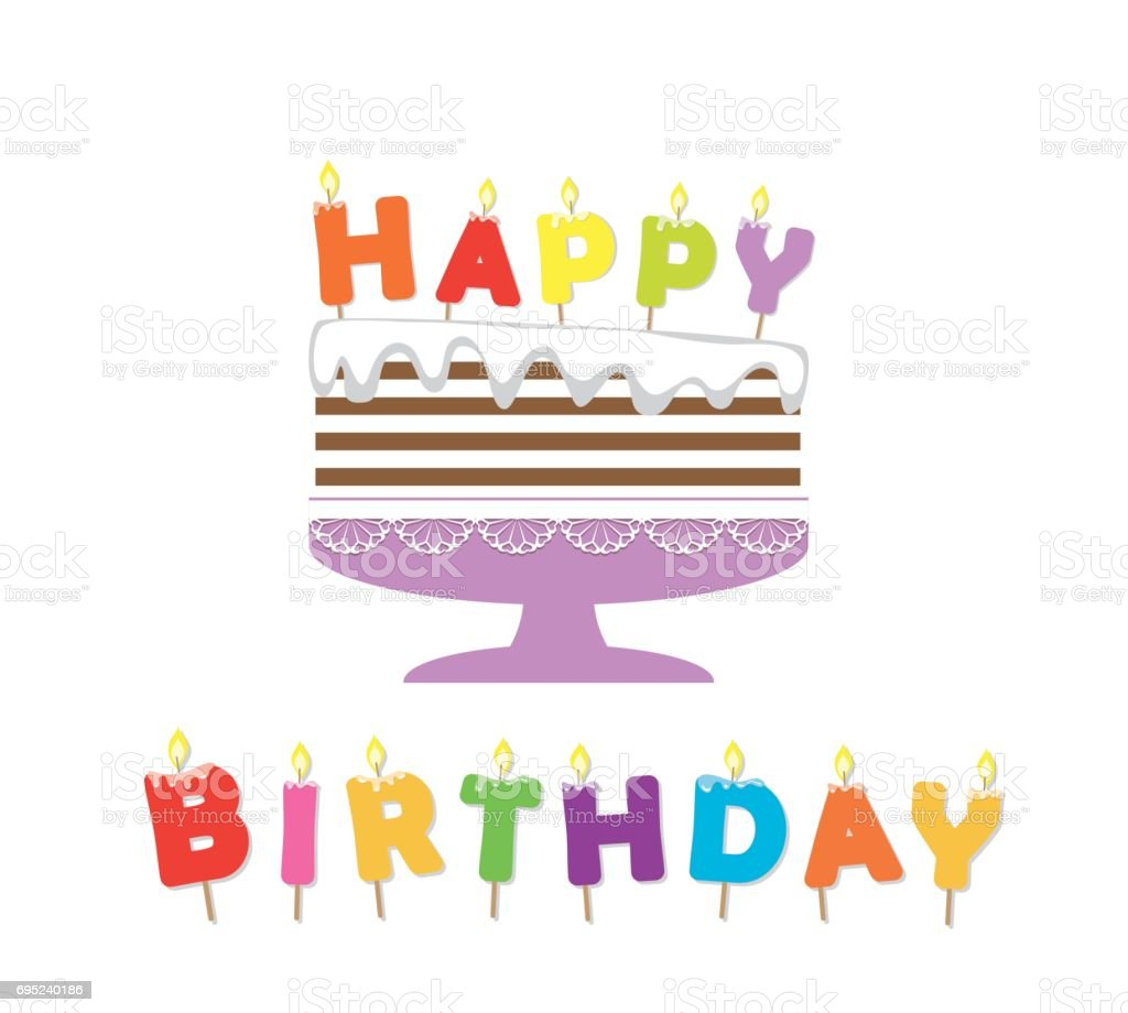 Birthday Cake With Candles Paper Cutout Sticker Stock Vector Art